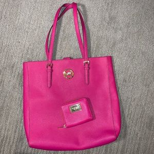 Michael Kors Leather Purse Wallet Set Magenta Pink